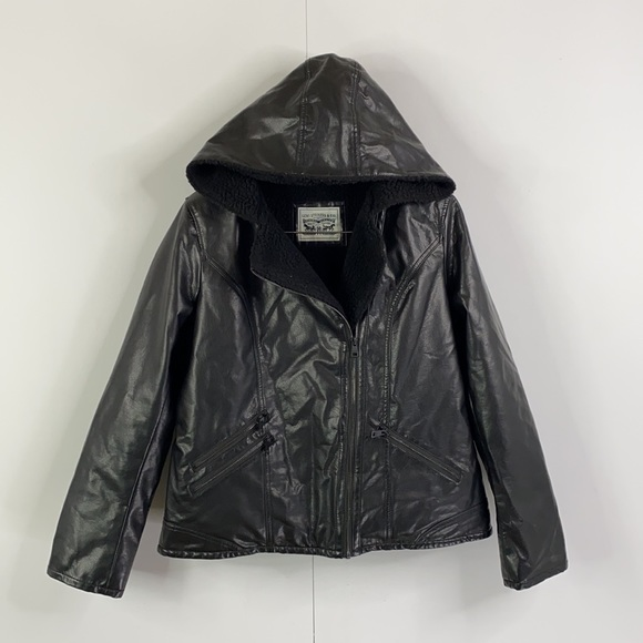 Levis Sherpa Lined Fake Leather Zip Moto Jacket